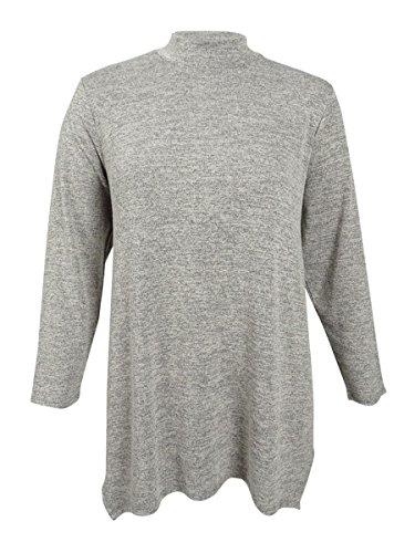 Style & Co . 3/4 Sleeve Cardigan - Style & Co. Womens Plus Heathered Sharkbite Hem Mock Turtleneck Sweater Gray 1X