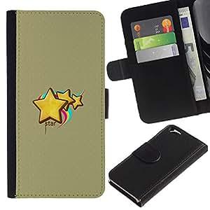 EJOY---La carpeta del tirón la caja de cuero de alta calidad de la PU Caso protector / Apple Iphone 6 / --Lindo estrellas y arco iris
