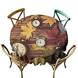 Round Tablecloth 60 inch Fall,Different Colored Dry Maple Leaves and Various Alarm Clocks on Wooden Planks Print, Multicolor Indoor/Outdoor Spillproof Table Cloth