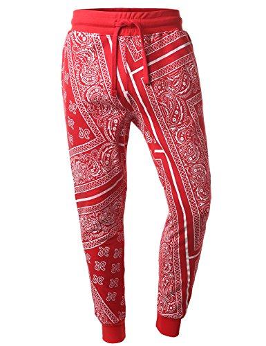 URBANCREWS Mens Hipster Hip Hop Bandana Fleece Jogger Pants RED MEDIUM