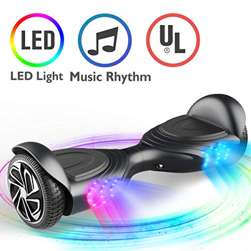 TOMOLOO Music-Rhythmed Hoverboard for Kids and Adult Two-Wheel Self-Balancing Scooter- UL2272 Certificated with Music Speaker- Colorful RGB LED Light (Q2)
