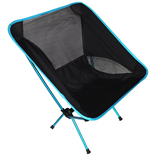 Ezyoutdoor Foldingstool Chair Jump Seat Collapsible Folded Seat Walkstool Portable Chair for Camping Bivouac Travel Camping Fishing Hiking H 65 cm x W 33 cm X L 44 cm (edge- blue)