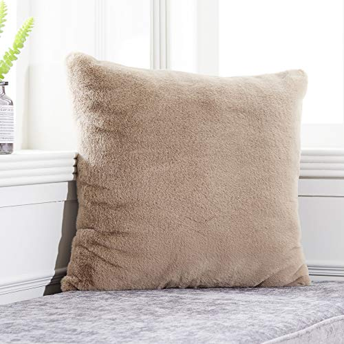 Fur Zip Cover - Foindtower Soft Rabbit Fur Square Decorative Throw Pillow Cover Cushion Case Warm New Luxury Series for Livingroom Couch Sofa Nursery Bed Kids Room Home Decor 18x18 Inch (45x45cm) Taupe