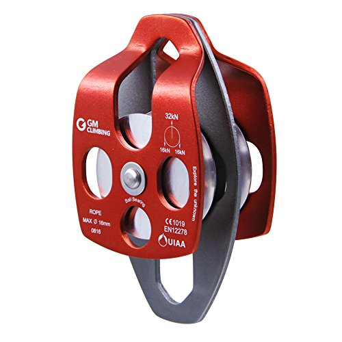 GM CLIMBING 32kN UIAA Certified Large Rescue Pulley Single / Double Sheave with Swing Plate CE / - Block Double