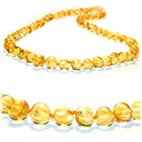 The Art of Cure SAFETY KNOTTED Lemon - (Unisex) - Certified Baltic Amber Baby Teething Necklace Highest Quality Guaranteed- Anti Flammatory, Drooling & Teething Pain. Easy to Fastens with a Twist-in Screw Clasp Mothers Approved Remedies!