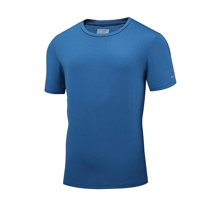 a78f112a6 ... Deportes de Secado Rápido Funcionamiento Verano de los Hombres Camiseta  Casual con Cuello en O Gimnasio Deporte Secado  Amazon.es  Ropa y accesorios