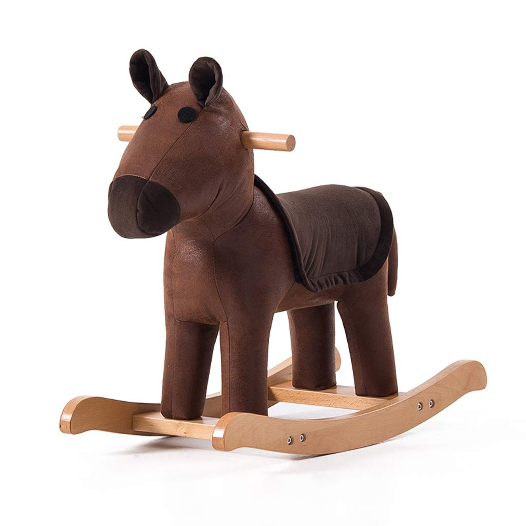 Cavalli a dondolo FJH Bambini in Legno massello Sgabello per Animali Baby Cartoon Poggiapiedi Toy Trojan Carino Sedia a Dondolo Piccola Panca (colore   Marronee)