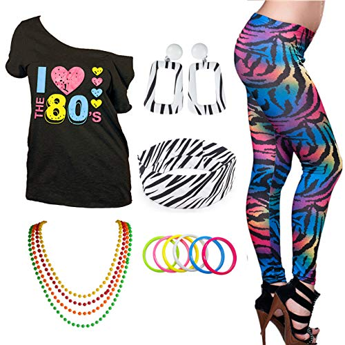 I Love The 80s Disco T-Shirt 1980s Party Theme Costume Outfit Accessories (Medium, -