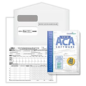 ComplyRight AC1095E200S 1095-C Employer-Provided Health Insurance Offer and Coverage Form with Envelopes and ACA Software, Bundle for 100 Employees