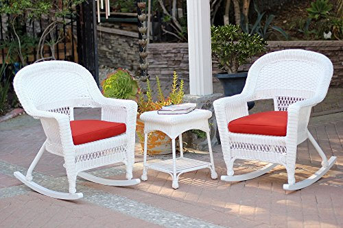Jeco W00206R-B_2-RCES018 3 Piece Rocker Wicker Chair Set with Red Cushion, White price