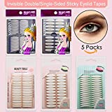 uneven 5 Packs Natural Invisible Single/Double Side Eyelid Tapes Stickers, Medical-use Fiber Eyelid Strips, Instant lift Eye Lid Without Surgery, Perfect for Hooded, Droopy, Uneven, Mono-eyelids