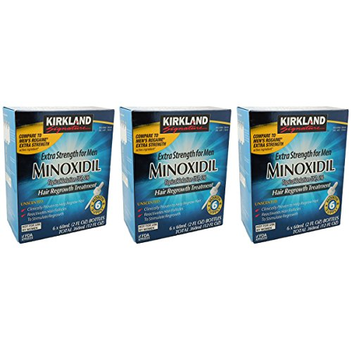 Kirkland Signature Hair Regrowth Treatment Extra Strength for Men 5% Minoxidil Topical Solution, 2 fl. oz, Total of 18 bottles by Kirkland Signature