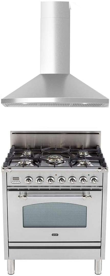 "Ilve 2 Piece Kitchen Appliances Package with UPN76DVGGI 30"" Gas Range and Forte TEGA30 30"" Wall Mount Convertible Hood in Stainless Steel - Made in Italy"
