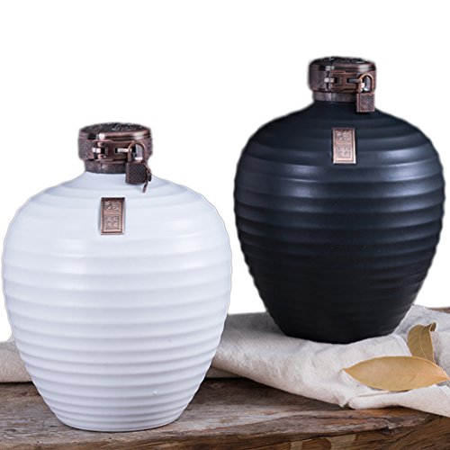 Linshing Ancient Chinese Style Retro Porcelain White Wine Jar Storage Container with Lid & Box 陶瓷白酒坛子 (2pcs white 0.5L capacity+2pcs black 0.5L capacity+box) by Linshing-by (Image #1)
