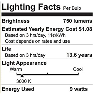 LED Light Bulbs 60 Watt Equivalent, A19 Warm White 3000K, E26 Base 750LM Non-Dimmable UL Listed, 4 Pack