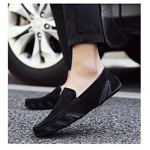 Zapatos para conducción de Redonda Cuero Genuino Punta Cordones con Hombres sin Negro y Zapatos EITgwqq