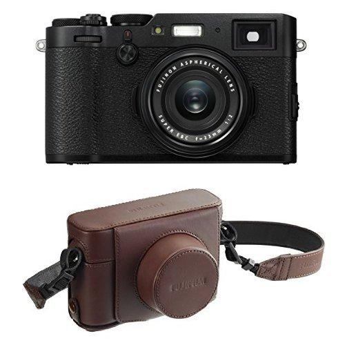 Fujifilm X100F 24.3 MP APS-C Digital Camera - Black and Leather Case - Brown
