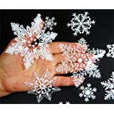 57 REUSABLE WHITE CHRISTMAS SNOWFLAKES WINDOW STICKERS SELF CLINGS Decorations