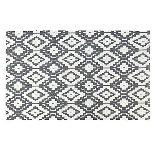 Seavish Cotton Printed Rug, Gray and Ivory Diamond Geometric Decorative Small Area Rug Hand Woven Rag Rug Entryway Thin Throw Door Mat with Non Slip Pad for Laundry Room Living Room Dorm, 2'W x 3'L