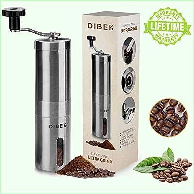 DIBEK UPGRADED VERSION Manual Coffee Grinder, Conical Burr Mill, Brushed Stainless Steel - Lifetime Warranty by DIBEK