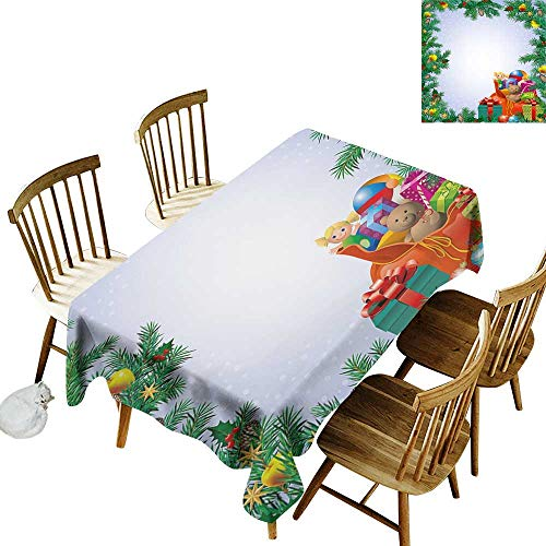 New Year Rectangular tablecloths in a variety of colors and sizes Can be used for parties Childrens Toys Composition Inside a Bag of Santa Teddy Bear Ball Ornate Boxes W60 x L102 Inch Multicolor