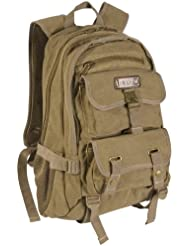 Eurosport Canvas Stylish Backpack Day Pack B705 Khaki. ONE SIZE
