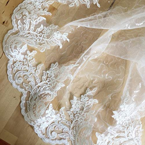 Lace Crafts - 2 Yards Beautiful Off White/Black French Alencon lace Trim Wedding Veil Wedding Dress Bridal Gown lace Fabric Trim 1cm Wide - (Color: Off White)