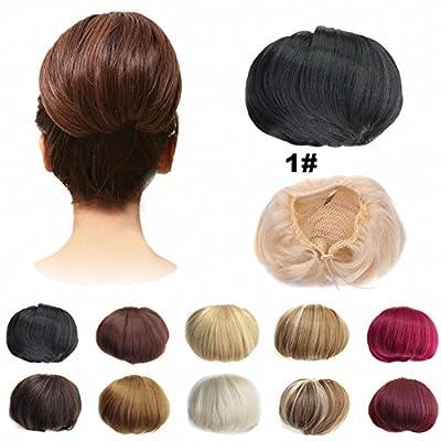 FESHFEN Bridal Hair Bun Updo Scrunchy Scrunchie Hairpiece Wig Hair Ribbon Ponytail Extensions Clips Straight Drawstring Hair Chignons Topknot Knot-1# Black