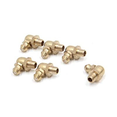 uxcell 6 Pcs Brass M6 x 1mm Thread 90 Degree Angle Grease Zerk Nipple Fitting for Car: Automotive