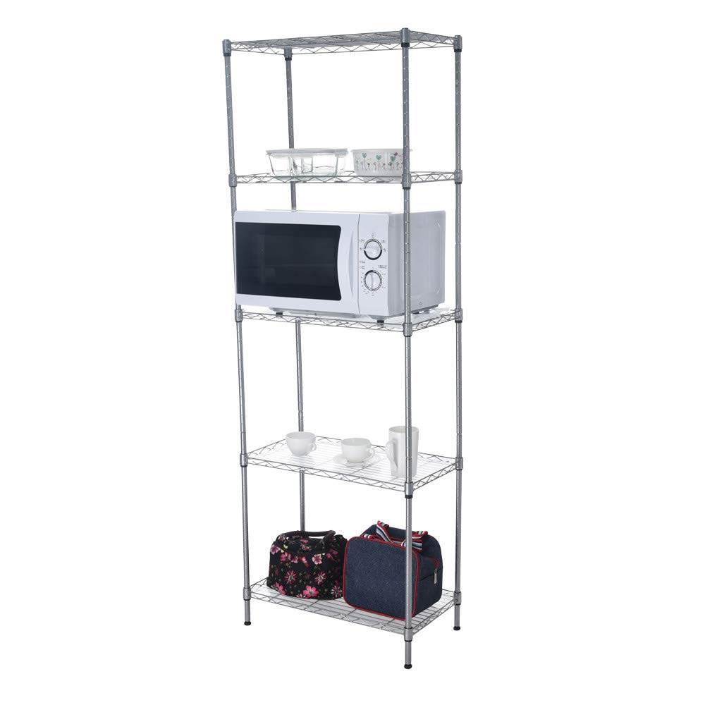 Quelife Shoe Kitchenwear Storage Rack Microwave Oven Holder Wheeled 5-Shelf Trolley Multifunctional Shelf Cart -55x30x158cm by Quelife (Image #3)