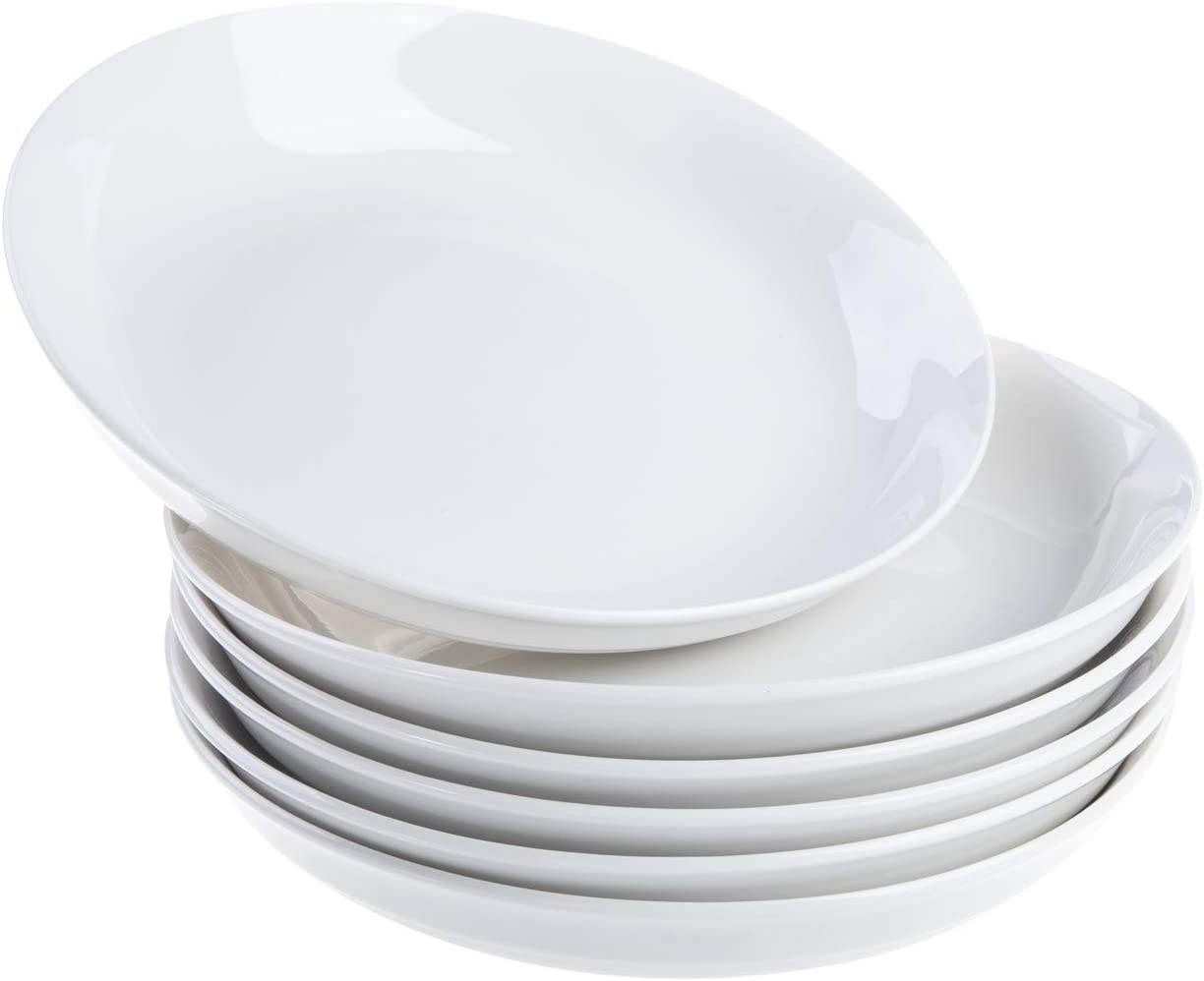 Cutiset 8 Inch Porcelain Salad/Pasta/Fruit Plates, 24 Ounce, Set of 6, White, Shallow & Wide (8-inch/24 ounce, Round)