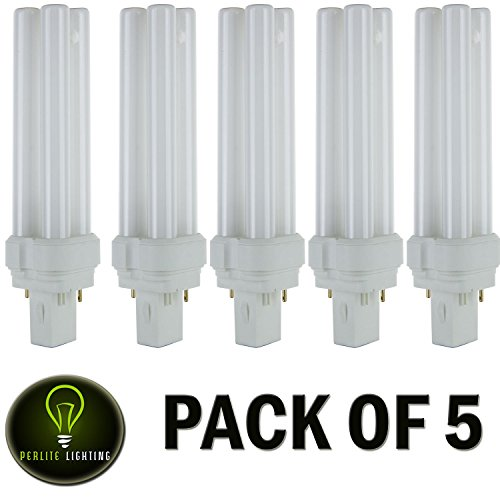Perlite Lighting 22 Watt FDL 2-Pin Quad Tube,GX32D-2 Base,3000K- Warm White ,Light Bulb - Pack Of 5 (Watt 22 Compact Quad Tube)