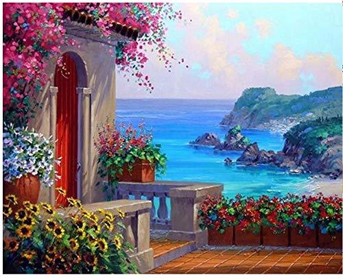 Agolong Bild Seascape DIY Malen nach Zahlen Moderne Wandkunst Landschaftsfarbe nach Zahlen für Hauptwanddekor Mit Rahmen 40x50cm B07NWT729Q   Rabatt