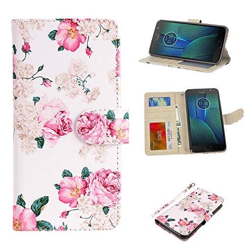 UrSpeedtekLive Moto G5S Plus Wallet Case, Premium PU Leather Wristlet Flip Case Cover with Card Slots & Stand Compatible Moto G5S Plus/ XT1806 (NOT for Moto G5 Plus), Flower