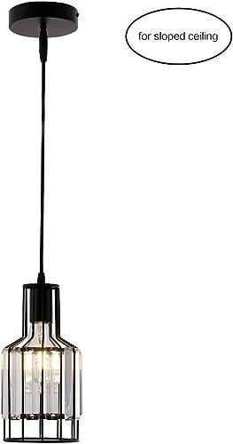 Sloped Ceiling Light Vintage Pendant Lighting Matt Black Cage with Crystal Lighting for Kitchen Island Farmhouse
