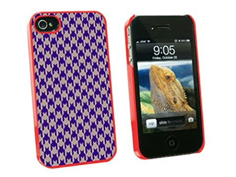Graphics and More Preppy Houndstooth Purple Gray Snap-On Hard Protective Case for Apple iPhone 4/4S - Non-Retail Packaging - (Iphone 4 Case Preppy)