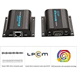 AGPtek® LKV372A HDMI Network Extender Over Single Cat6/6a/7 Ethernet Cable with IR Up To 196 Feet 60m Supports 1080P &3D, HD Audio, Deep Color - Support 20~60KHz wide frequency IR remote control