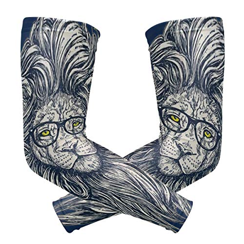 Anti Slip Fake Temporary Tattoo Sleeves for Unisex Hipster Lion With Glasses Cooling and Warmer Both for Summer and Winter