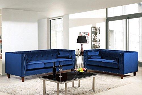 Container Furniture Direct S5369-2PC Kitts Velvet Upholstere