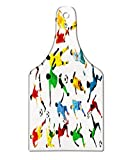 Lunarable Boy's Room Cutting Board, Collection of Soccer Players in Different Positions Hitting the Ball Goal Win, Decorative Tempered Glass Cutting and Serving Board, Wine Bottle Shape, Multicolor