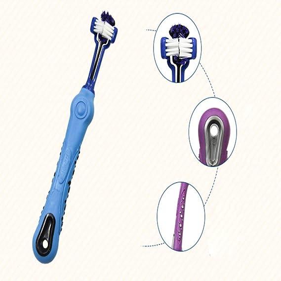 fptcustom Perro Cepillo de Dientes para Mascotas Cuidado Dental - Triple Cabeza de Cepillo de Dientes-D: Amazon.es: Productos para mascotas