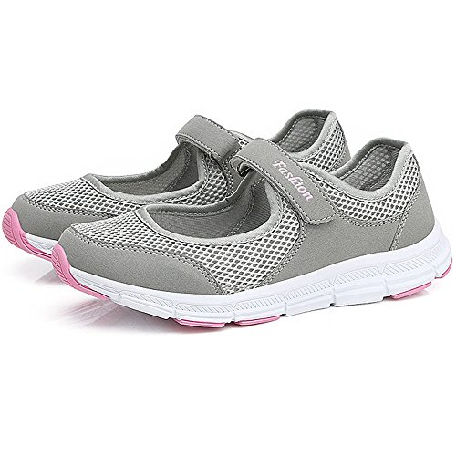 Y&Mai Sports Sandals Breathable Sneakers Mesh Lightweight Running Shoes Women Summer Gray io8tGoG