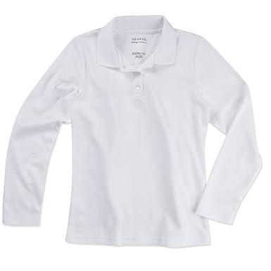 52a8a534a4 Amazon.com: George Girls' School Uniform Long Sleeve Polo Shirt: Clothing
