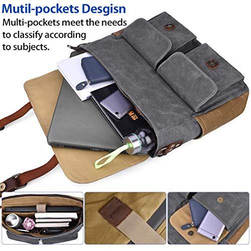 Laptop Messenger Bag for Men 15.6 Inch Waterproof Vintage Waxed Canvas Briefcase Genuine Leather Satchel Shoulder Bag…