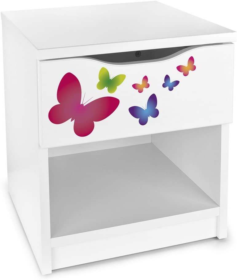 Moderne Table De Chevet Blanche Avec Tiroir Motif  Couleur Papillons Style Moderne Meuble de Rangement Avec Tiroirs  Chambre dEnfants