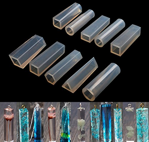 10 Pieces Jewelry Casting Molds Silicone Resin Jewelry Molds with Hanging Hole for DIY Jewelry Craft Making,The Multi-faceted Silicone Mold for Making Polymer Clay, Crafting, Resin Epoxy