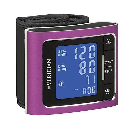 Veridian Healthcare Metallic Style Wrist Blood Pressure Monitor, (Veridian Health Care Latex)