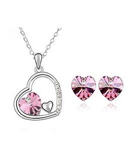 Neevas Austrian Crystal Heart Pendant Necklace Chain & Earrings Wedding Jewellery Set (Rose Red)