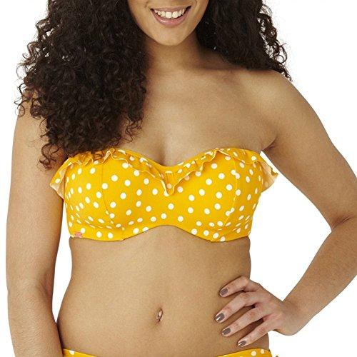 Panache CW0033 Cleo Betty Underwired Bandeau Strapless Bikini Top YELLOW SPOT Yellow 36G