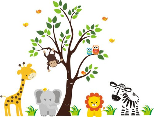 Baby Nursery Wall Decals Safari Jungle Childrens Themed 83'' X 97'' (Inches) Animals Trees Wildlife: Repositionable Removable Reusable Wall Art: Better than vinyl wall decals: Superior Material